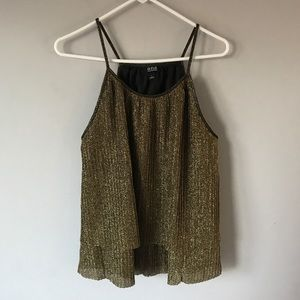 A New Approach gold shimmer tiered spaghetti tank